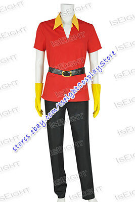 Beauty And The Beast Hunter Gaston Cosplay Costume Red Uniform Halloween Party
