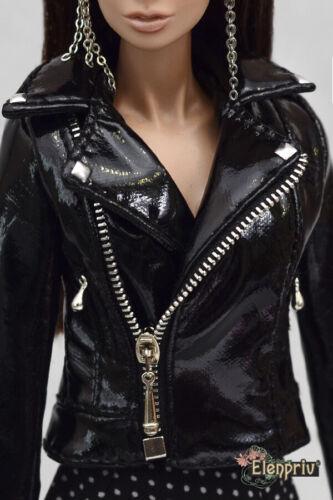 "ELENPRIV black patent leather biker jacket for Fashion Royalty FR2 12"" dolls"