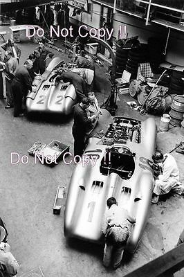 Mercedes Benz W196 in their garage French Grand Prix 1954 Photograph