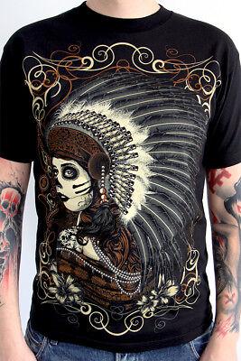 Barmetal Mens Native Indian Headress Black T Shirt - Indian Headress