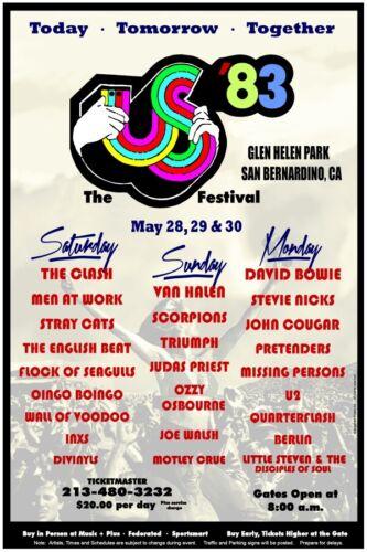 US Festival 1983 box office CONCERT POSTER bowie, crue, halen, clash, u2, ozzy