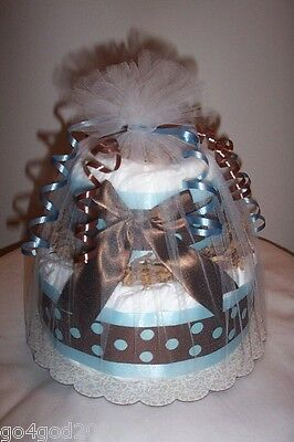 L@@K..Mod Boy 2 Tier  Diaper Cake - Boy Baby Shower