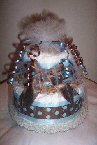 L@@K..Mod Boy 2 Tier  Diaper Cake - Boy Baby Shower