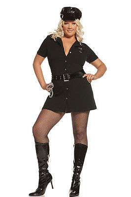 OFFICER ARREST ME ADULT PLUS WOMENS COSTUME Uniform Police Halloween Theme Party (Office Themed Halloween Costumes)