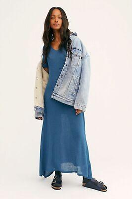 Free People Women Medium Montauk Sweater Midi Dress Out to Sea NWT Montauk Blue Apparel