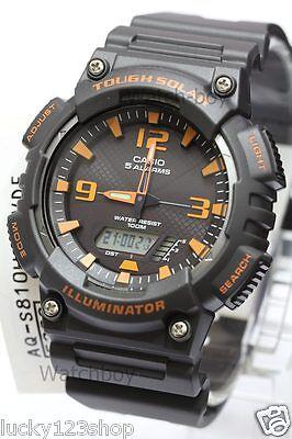 4a141c8dc4b4 AQ-S810W-8A Black Orange Casio Men s Watch Tough Solar Analog Digital Resin  New