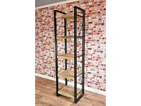 Slim Industrial Metal Bookcase Reclaimed Rustic Wood Alcove Shelf Open Back