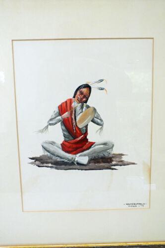 Vtg Orig Bobby Hill White Buffalo Kiowa Southwestern Artist The Song Maker 1971