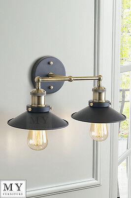 Vintage Industrial Loft Metal Double Sconce Wall Light wall Lamp - Regis Black