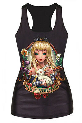 New Black Rabbit Queen Fairy Racerback Tank Top Dead Horror Morbid Gothic (Fairy Tank Top Shirt)