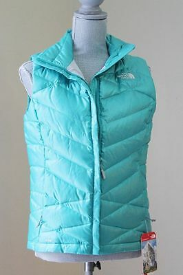 NEW THE NORTH FACE WOM M ACONCAGUA VEST GREEN DOWN 550 ZIP ACTIVE WINTER PUFFER