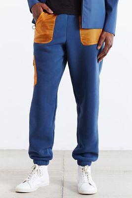 Adidas Originals Mens XL Rich Blue/ Yellow Cozy Polar Fleece Pants Sport Jogger
