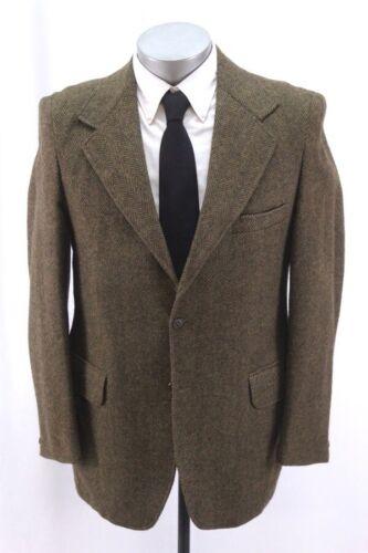 vintage 70s mens brown HERRINGBONE TWEED jacket blazer sport coat towncraft 40 R