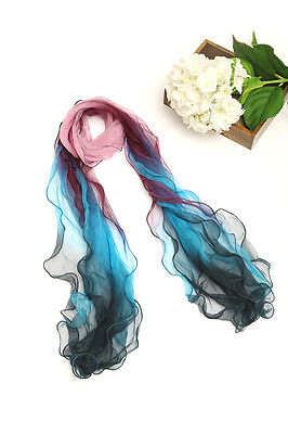 Layer Scarf - Long Three-Layer Silk Scarf Blue Pink and Purple