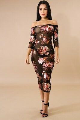 Mesh Bronze Silver Foil Floral Off Shoulder 3/4 Sleeve Bodycon Midi Dress S M L  Foil Mesh Dress