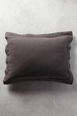 Anthropologie Soft Washed Linen Standard Carbon Gray Shams Set of 2 New