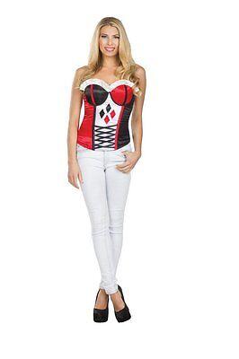 Batman Joker Woman Costume (Harley Quinn Corset Bustier Costume Joker Batman DC Comics Adult S M)