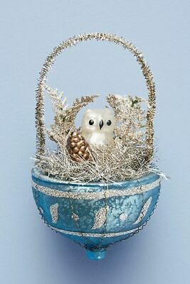 Anthropologie Owl's Nest Glass Vintage Style Xmas Ornament Tinsel Glitter