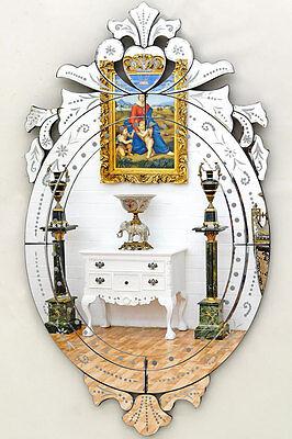 №1890 VENEZIANISCHER WANDSPIEGEL oval ca.90cm ital. MURANO-SPIEGEL mit BEKRÖNUNG