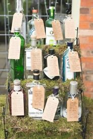 12 Assorted Gin Bottles wedding table decorations