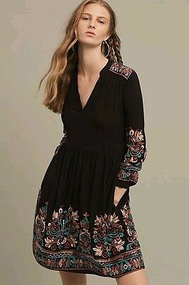 Nwt Anthropologie Embroidered Avery Dress Size M By Floreat Black  158