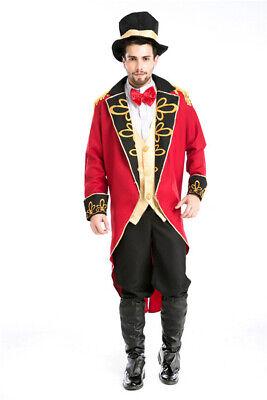 Adult Ringmaster Costume Mens Circus Lion Tamer Fancy Dress Ring Master Costume