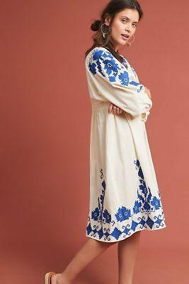 New Anthropologie Jora Embroidered Peasant Dress Vintage Inspired Medium Blue