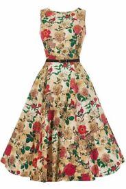 Lady Vintage Dress Dusty Rose Hepburn 1950s fancy dress RRP £49