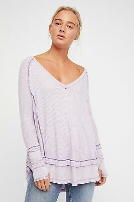 Nwt Free People Lilac Thermallaguna Deep V Neck Long Sleeve Size S M  Roomy