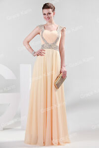 Cheap Chiffon Cap Sleeve Long Formal Prom Dresses Party Bridesmaid Evening Gowns