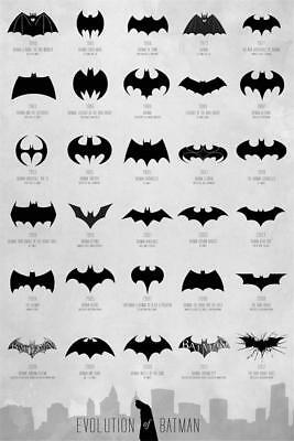 Evolution of Batman Art Decor Poster Print 36x24 18x12