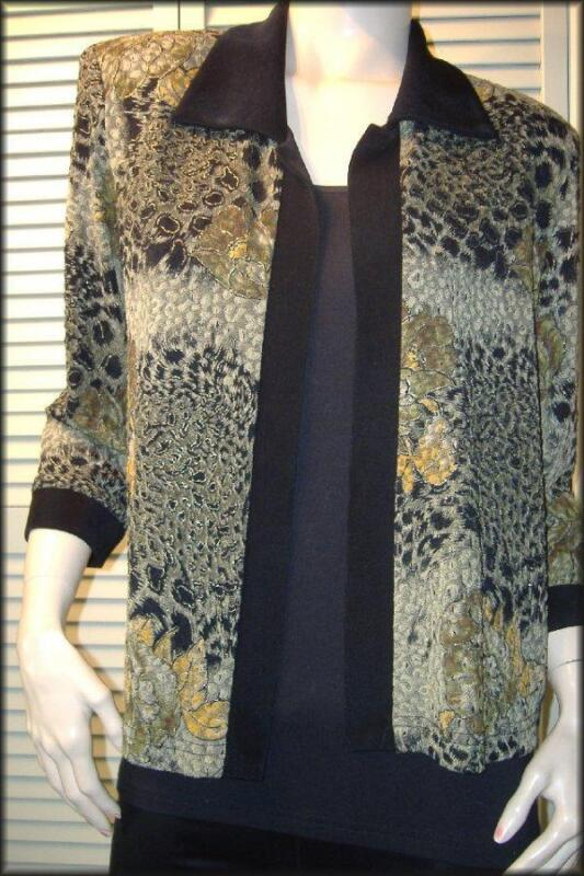 R&M RICHARDS Open Style Polyester Knit Jacket (8) Floral & Cheetah Animal Print