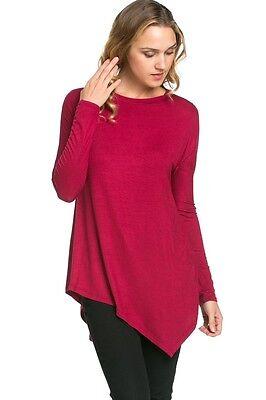 (Burgundy  asymetrical handkerchief style tunic size LG)
