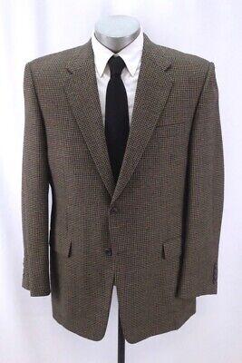 mens brown houndstooth HICKEY FREEMAN madison blazer jacket sport suit coat 44 R