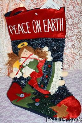 Country Angel Primitive Peace On Earth Homespun Creations (Country Christmas Stockings)