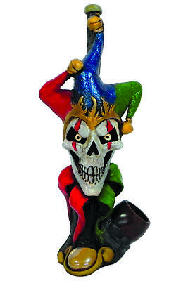 Mad Jester Clown Handmade Tobacco Smoking Hand Pipe Evil Skull Horror Creep Fool](Jester Skull)