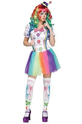★ Halloween Damen Deluxe Regenbogen,Rainbow ,Clown Harlekin Zirkus, Kostüm S-L