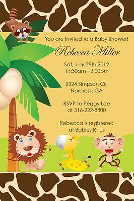 Safari Birthday Party Invitations (Jungle Safari Zoo Animal Custom Birthday Party Baby Shower Digital)