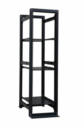 "42U 4 Post Open Frame Server Rack Enclosure 19"" Adjustable Depth 3 Fixed Shelf"