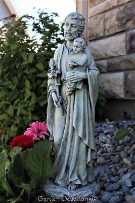 "Gray Tones 20"" ST. JOSEPH HOLDING CHILD JESUS Lilly & Bird Garden Statue ~ New!"