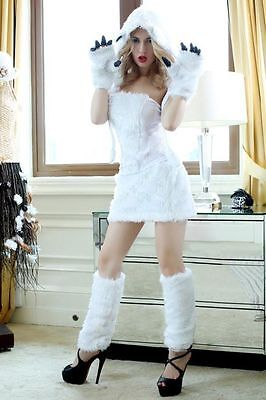 Polar Bear Halloween Costumes (White Furry Animal Sexy Polar Bear Girl Adult Woman Costume for Halloween)