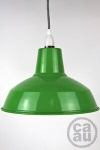 Industrial enamel tennis court lamp shade wire pendant cloth cord on/off light