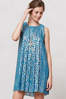 Anthropologie Shimmer Spot Turquoise Blue Silk Swing Dress S