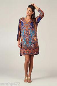 KUSHI ETHNIC TRIBAL MIDI KAFTAN KIMONO TUNIC DRESS SIZE 10 12 14 16 18 20 NEW