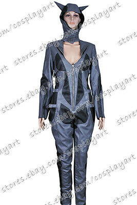 Batman Arkham City Cosplay Catwoman Costume Grey Leather Jumpsuit Uniform - Grey Catwoman Costume