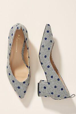 Anthropologie Shoes BEATRIZ BLOCK HEELS 38 Black Tweed Blue Dot Pumps 7.5 NIB