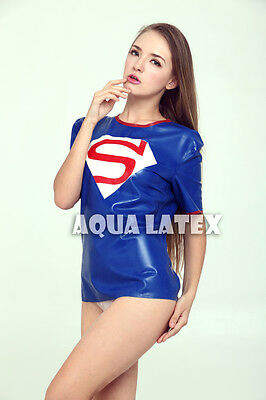 Latex T-shirt Super Girl T-shirt Superman Similar Style Women Rubber Sexy Top](Supergirl Latex)