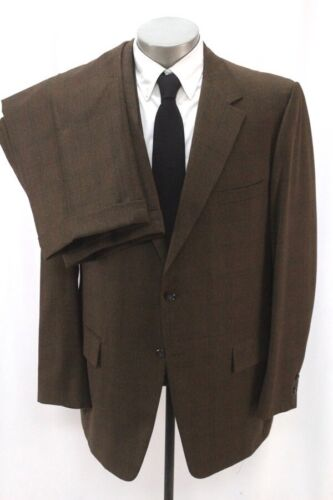 mens brown windowpane VINTAGE 70s 2pc PANT SUIT flannel wool two button 46 R L