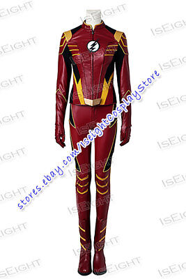 Flash Jesse Quick Cosplay Costume Uniform Red Full Set Halloween](Quick Halloween Costumes Female)