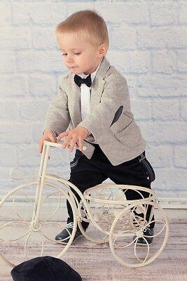 Abito vestito da battesimo maschietto VELLUTO BLU-GRIGIO da cerimonia  cod 1856